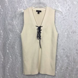 J. Crew cream lace up ribbed knit sleeveless med